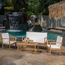 Beachcrest Home Lakeside 4 Piece Deep Seating Group With