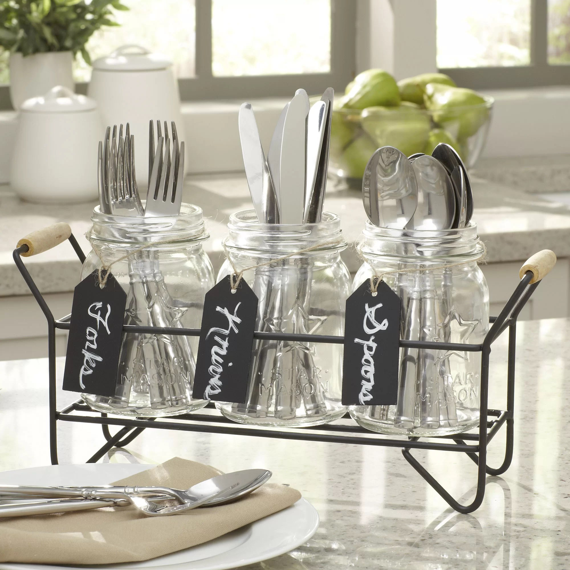 Home Essentials and Beyond 4 Pieces Star Mason Jar Set