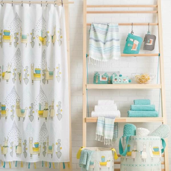 Danica Studio Llamarama 100 Cotton Shower Curtain &