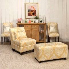 Yellow Parsons Chair Used Salon Bungalow Rose Natane And Cream Damask