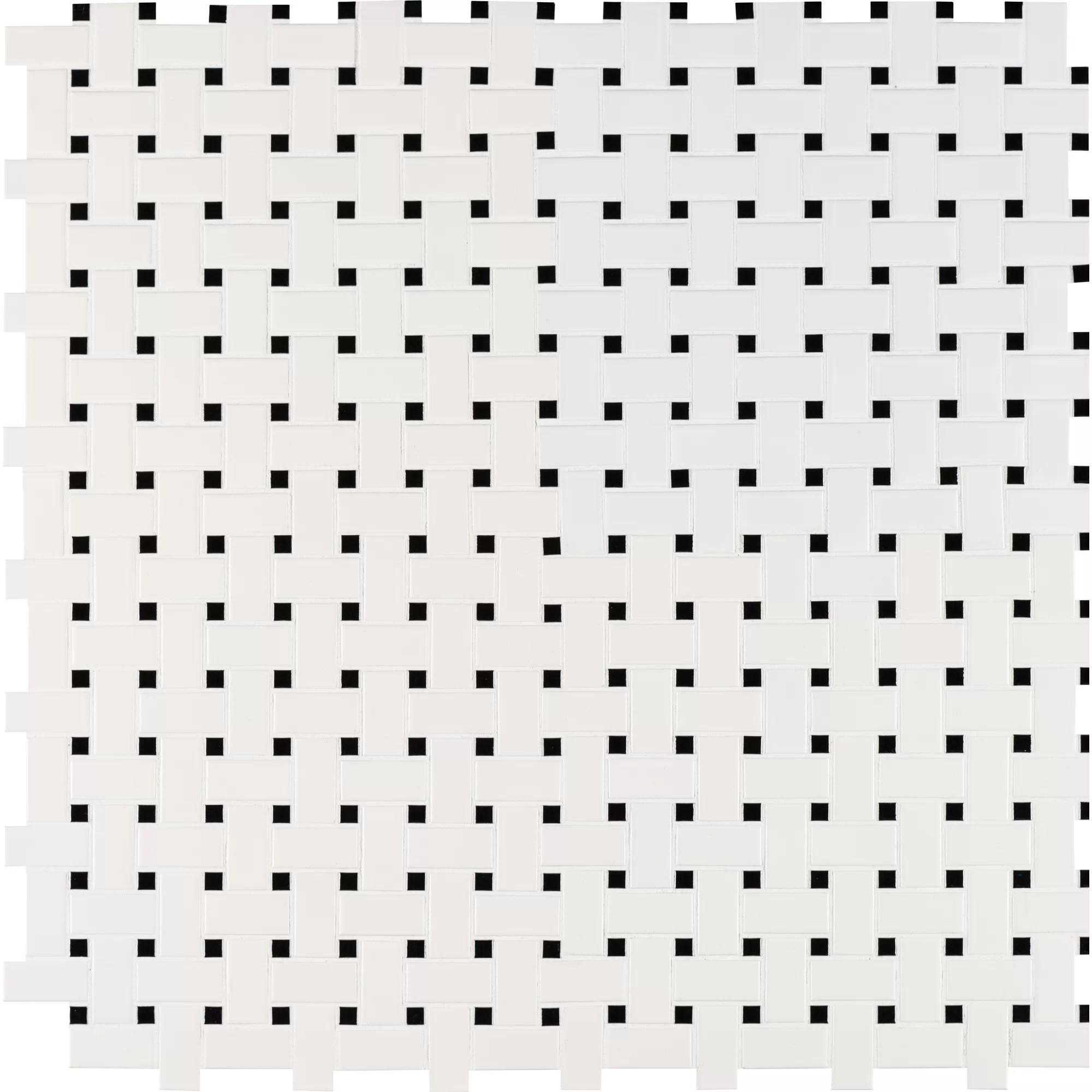 Basket Weave Random Sized Porcelain Mosaic Tile In White