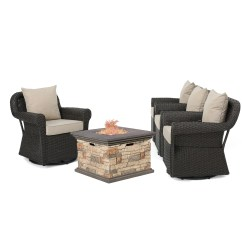 Propane Fire Pit Sets With Chairs Chair Vs Stool Helena 5 Piece Rocking Gas Set Joss
