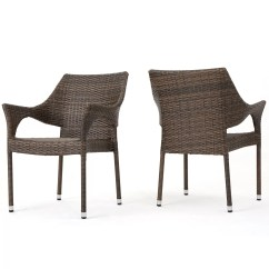 Wicker Patio Chair Set Of 2 Tall Lawn Chairs Wade Logan Abby Outdoor Stacking Dining Arm