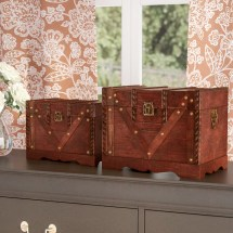 Alcott Hill Decorative Treasure Chest In Antique Cherry