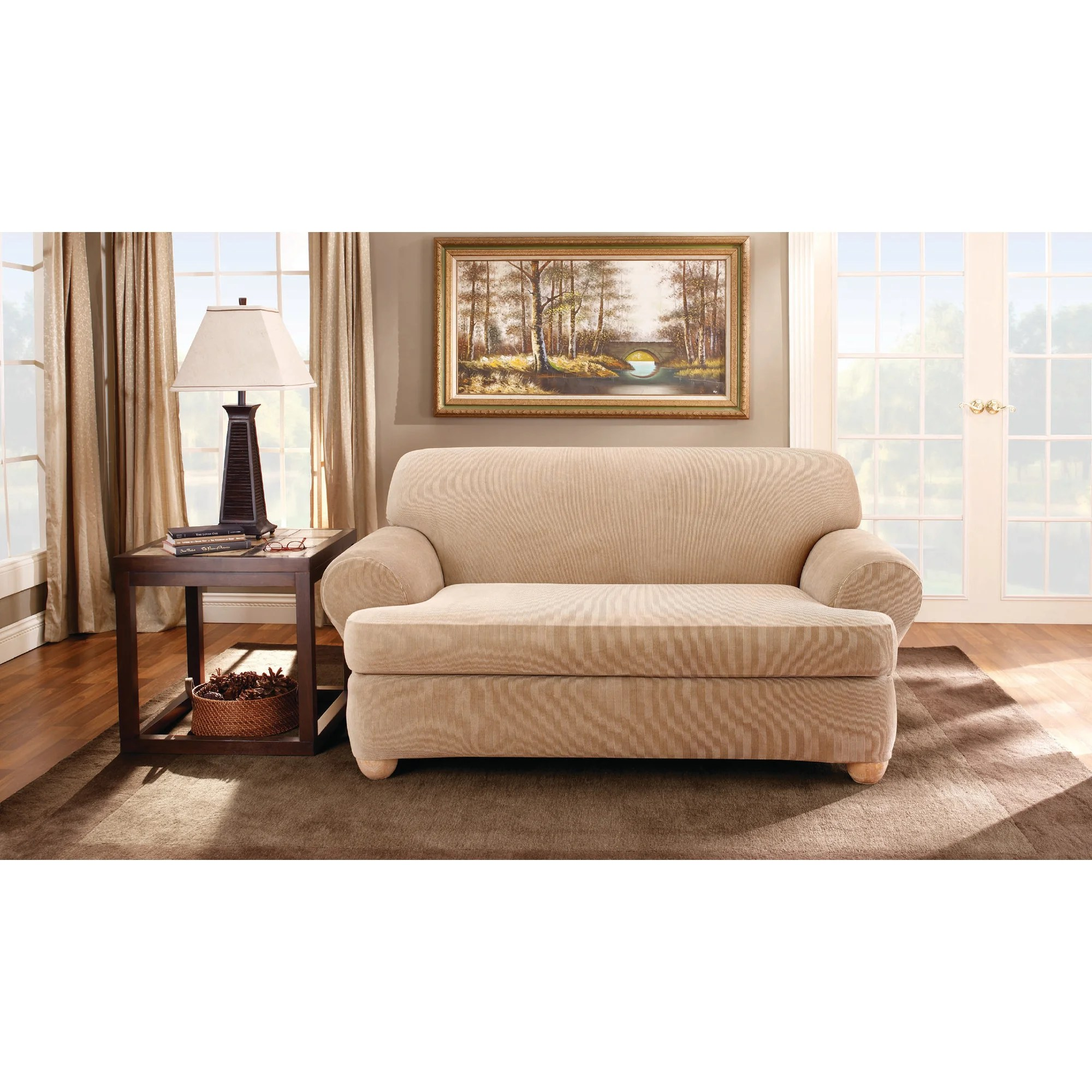 stretch 3 piece t cushion sofa slipcover best leather brands canada sure fit stripe loveseat
