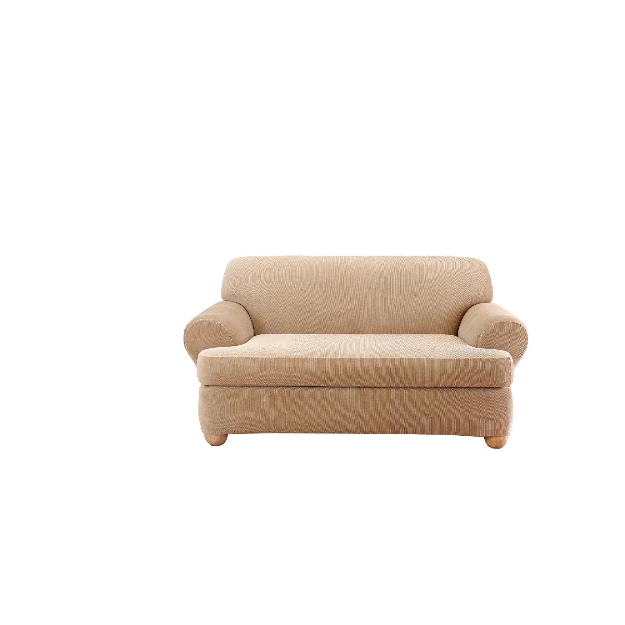 sure fit stretch stripe 2 piece t cushion sofa slipcover light brown bed loveseat