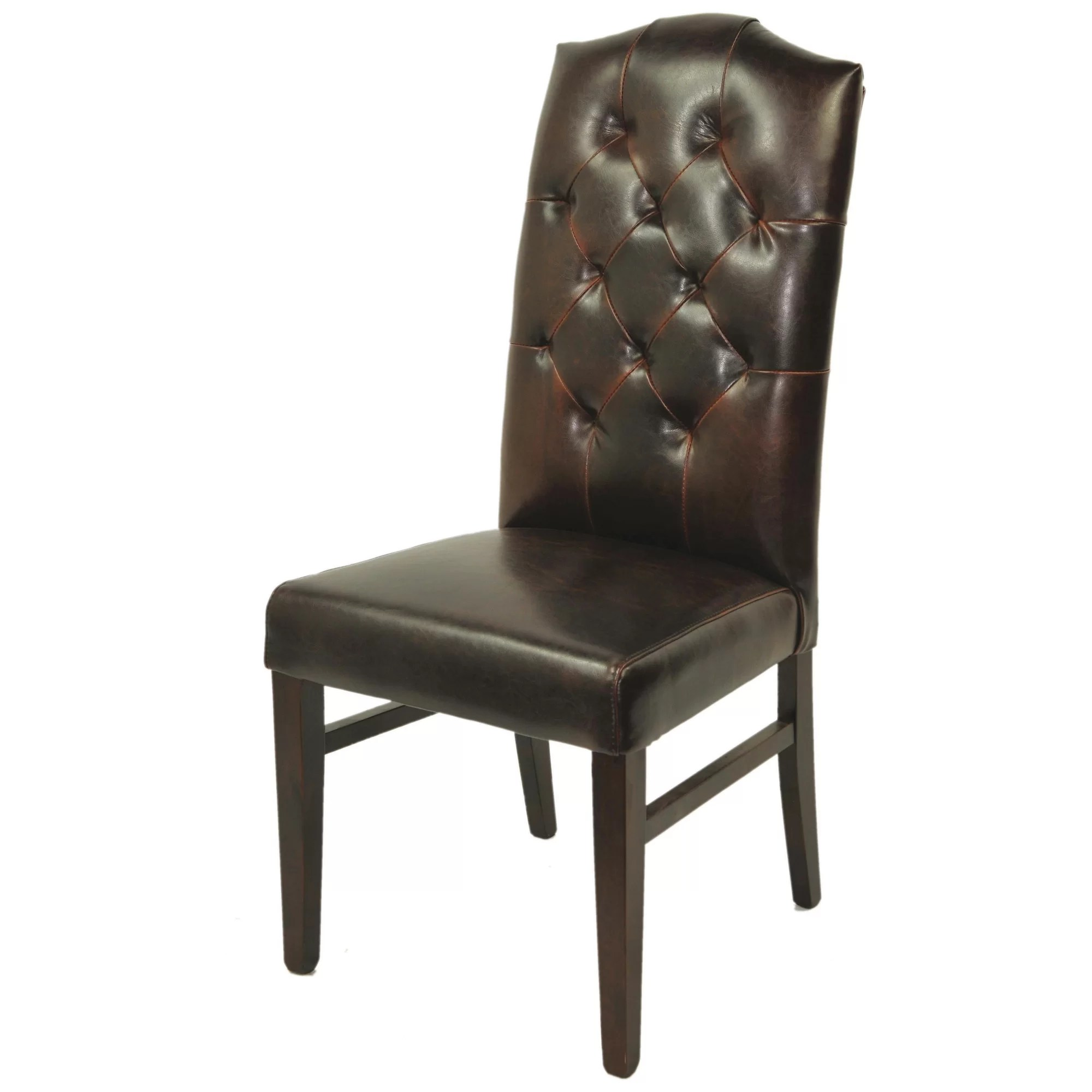 high back tufted chair acrylic desk with cushion moti furniture true leather side