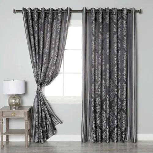 Best Home Fashion Inc Wide Width Damask Jacquard Grommet Curtain