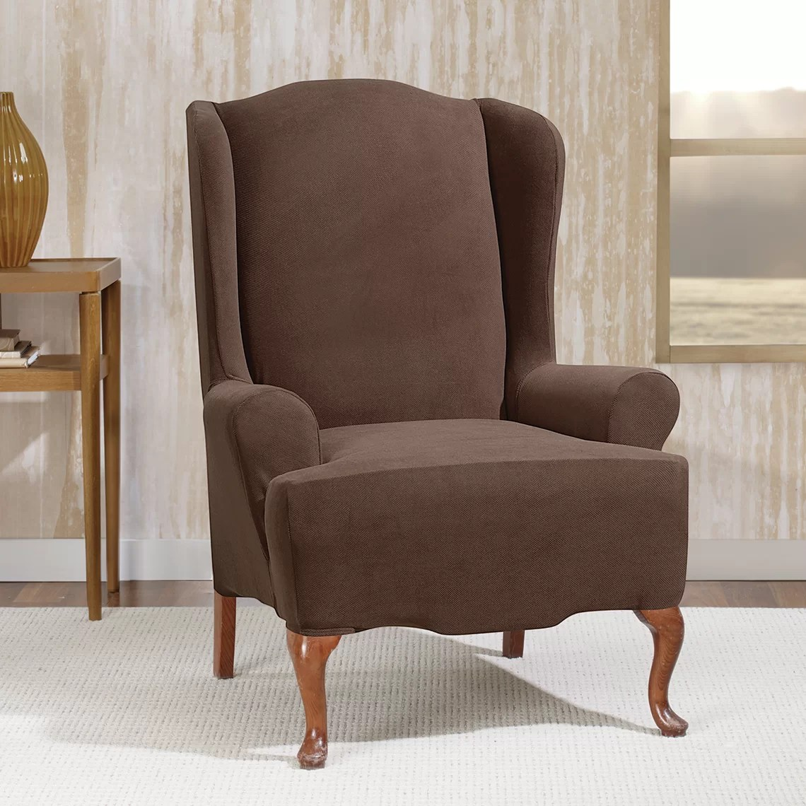 sure fit slipcovers wing chair outdoor wicker rocking chairs stretch morgan wingchair t cushion skirted