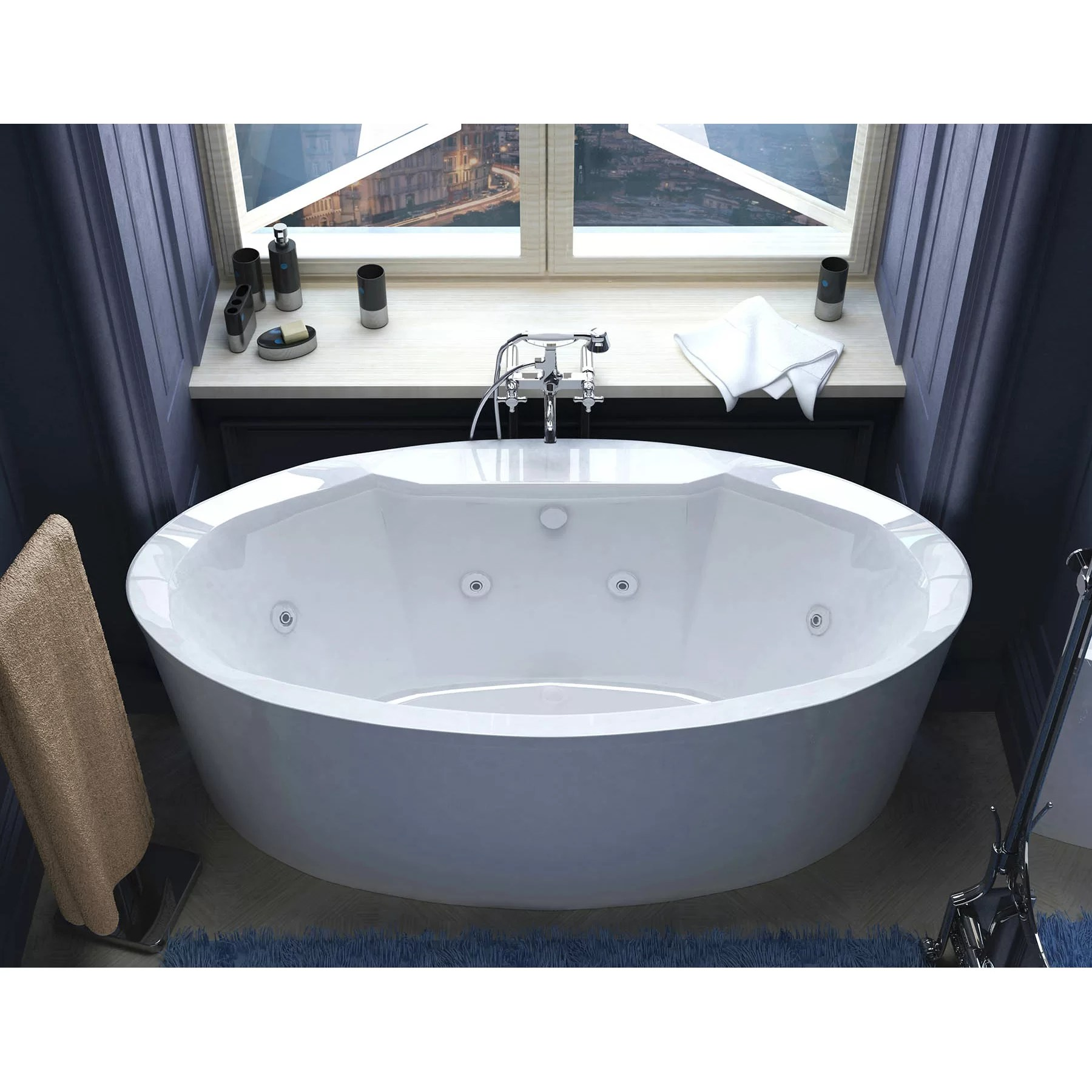 """Spa Escapes Salina 67.18"""" x 33.43"""" Oval Freestanding"""