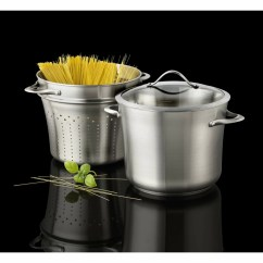 Calphalon Kitchen Essentials Stainless Steel Floating Island Contemporary Stock Pot With Lid