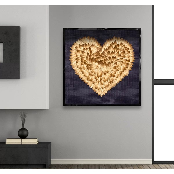 Oliver Gal Feathered Heart Real Feather Framed Wall Art