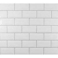 Mulia Tile Classic Beveled Ceramic Subway Tile in White ...