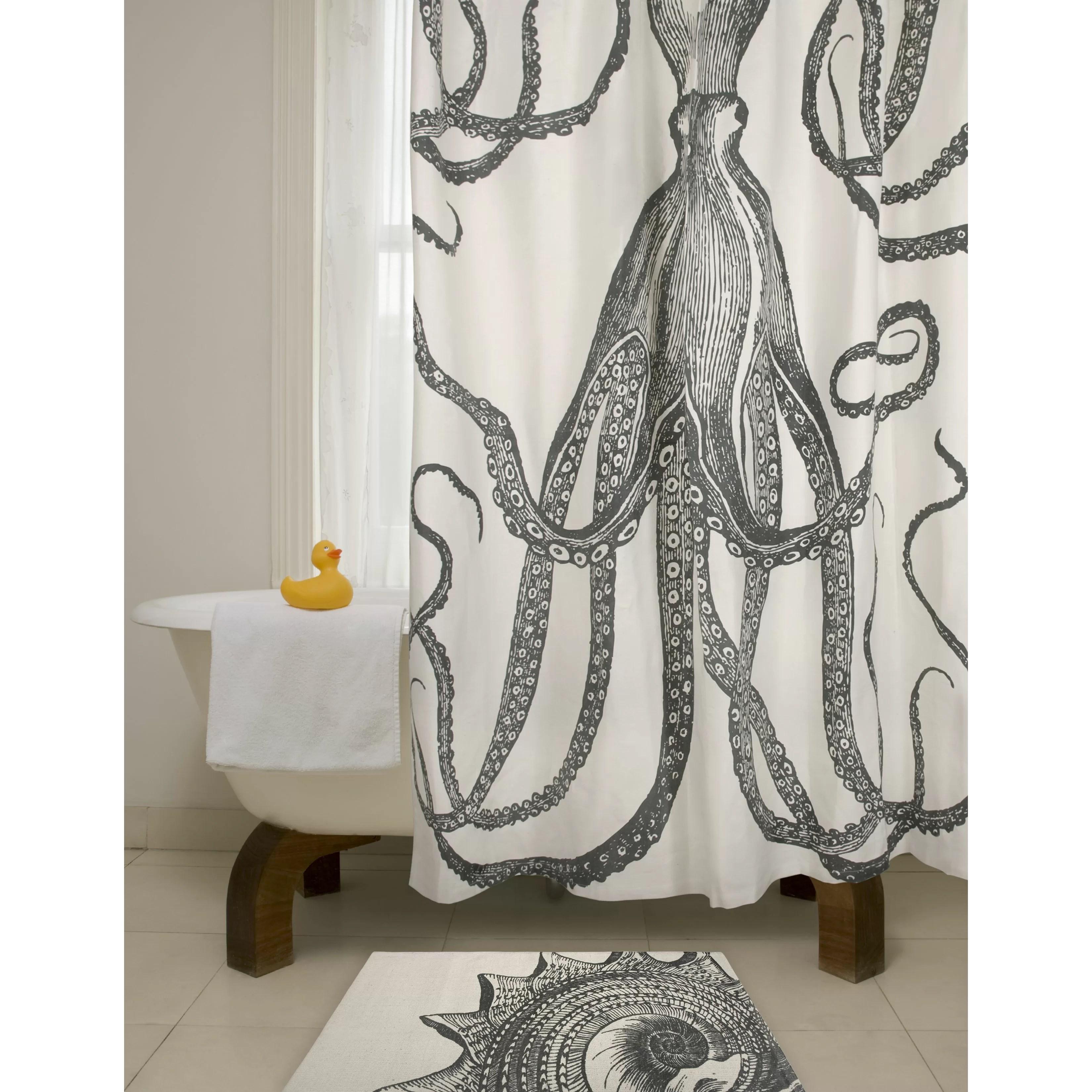 Bath Cotton Octopus Shower Curtain & Reviews AllModern