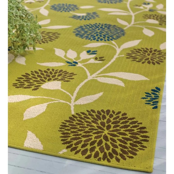 Plow & Hearth Floral Surry Rug Green Indoor Outdoor Area