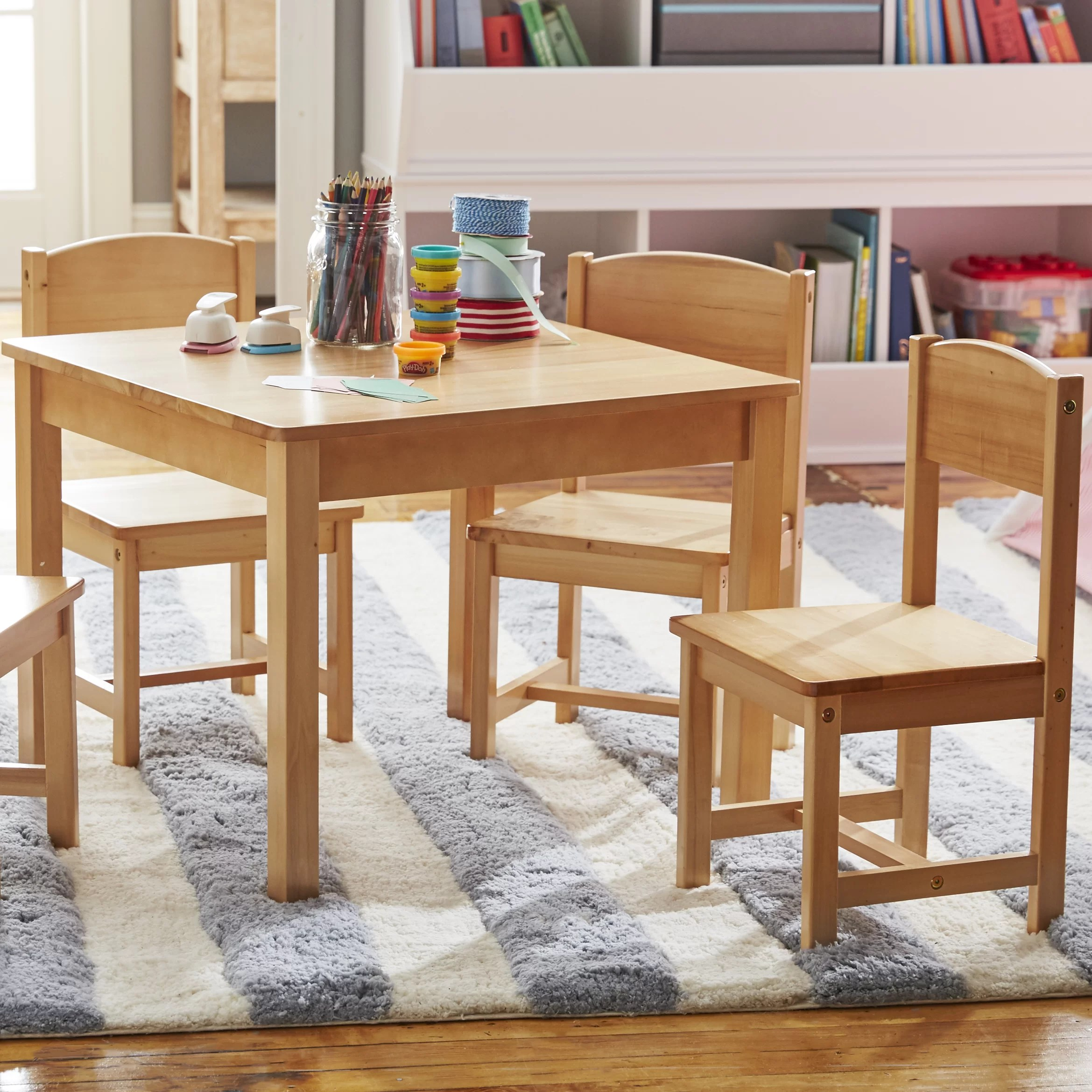 kidkraft table and chairs chair cushion for seniors farmhouse kids 5 piece square set