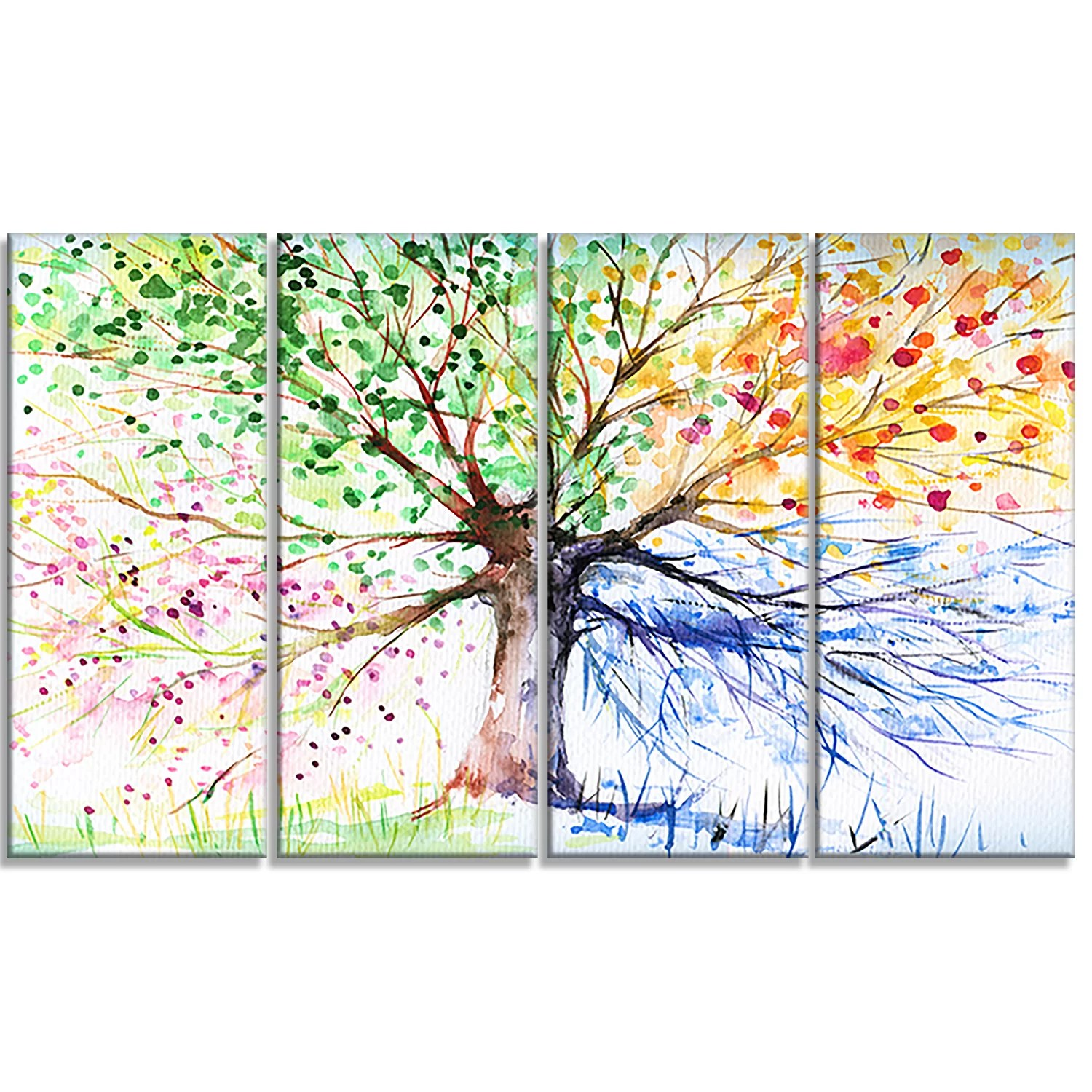 Designart Four Seasons Tree Floral 4 Piece Painting Print On Wrapped Canvas Set