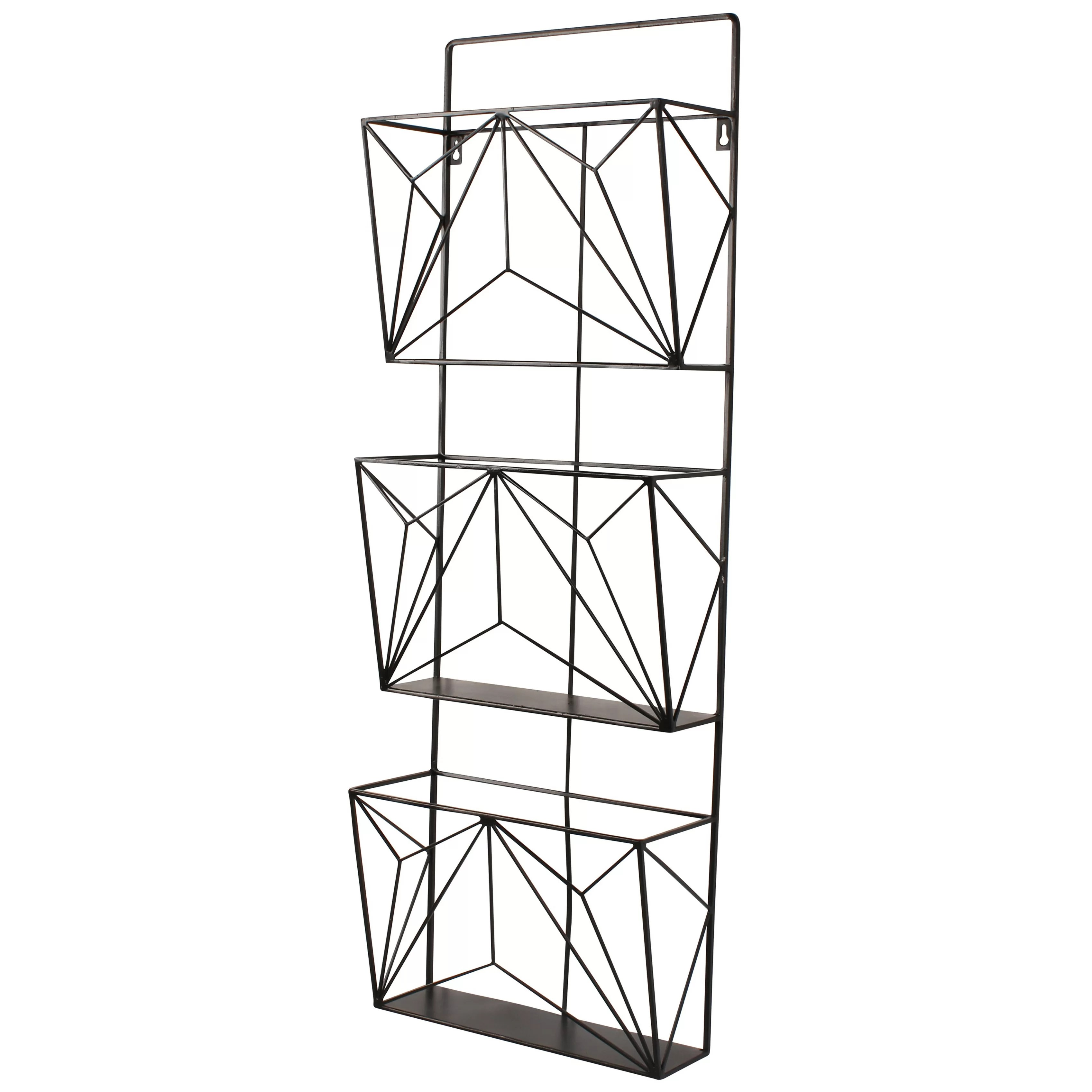 Kate and Laurel 3 Pockets Hanging Wall Magazine Rack