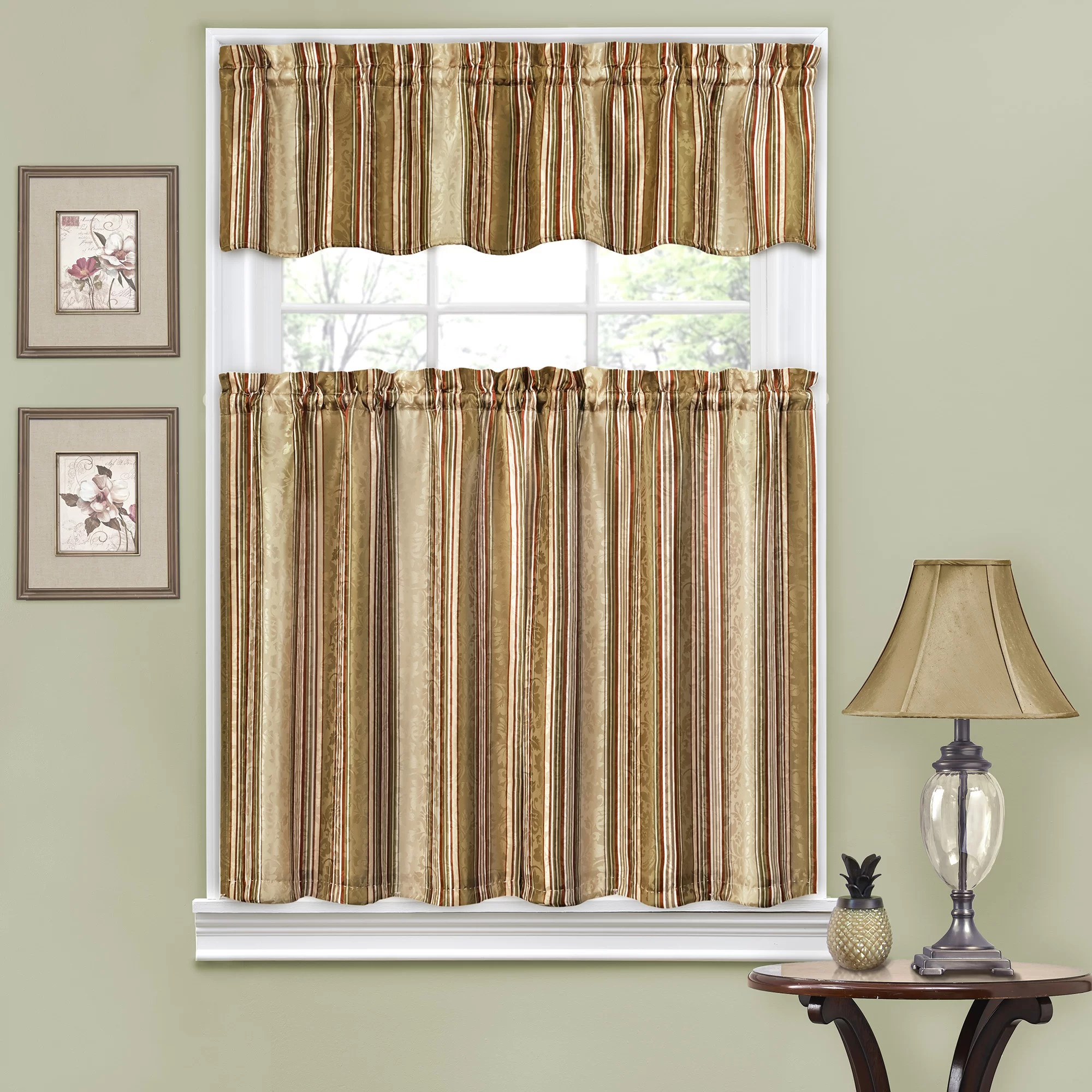 Traditions by Waverly Stripe Ensemble 52 Valance and Tier Set  Reviews  Wayfair