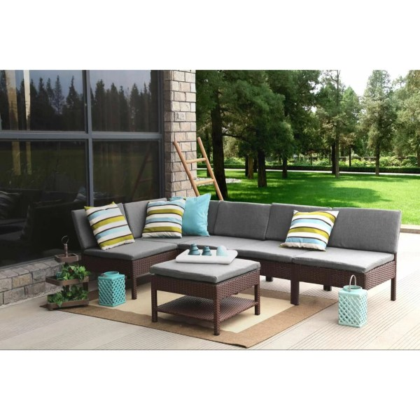 Baner Garden Complete Patio 6 Piece Deep Seating Group Set With Cushions &