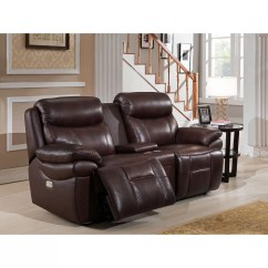 Futura Leather And Vinyl Power Reclining Sofa With Headrest In Stone Recliner Corner Uk Living Room Sets
