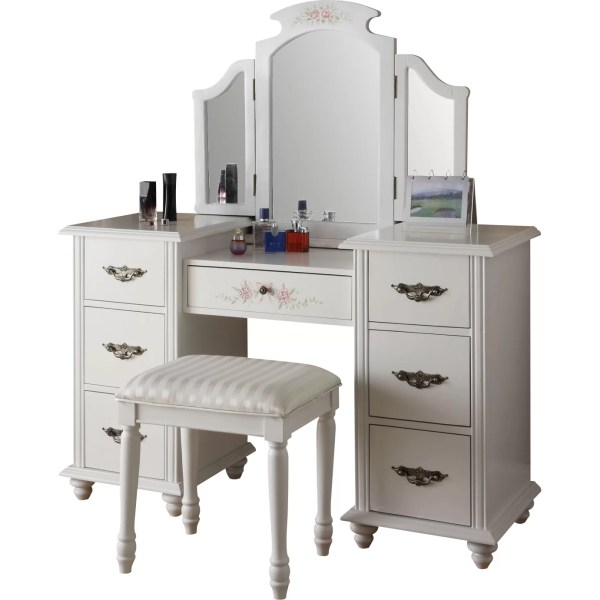 Infini Furnishings Makeup Vanity Set With Mirror &