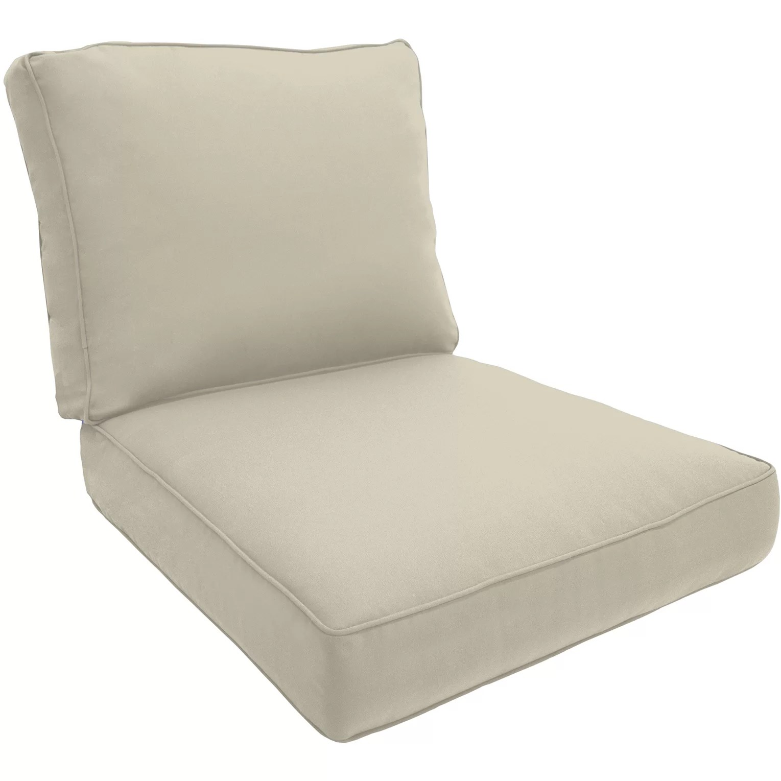 outdoor chair pad kohl lounge met voetenbank double piped cushion and reviews