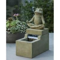 Garden Terrace Mini Element Cast Stone Zen Frog Fountain ...