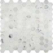 "Calacatta Gold Hexagon Mounted 1"" x 1"" Marble Mosaic in White"