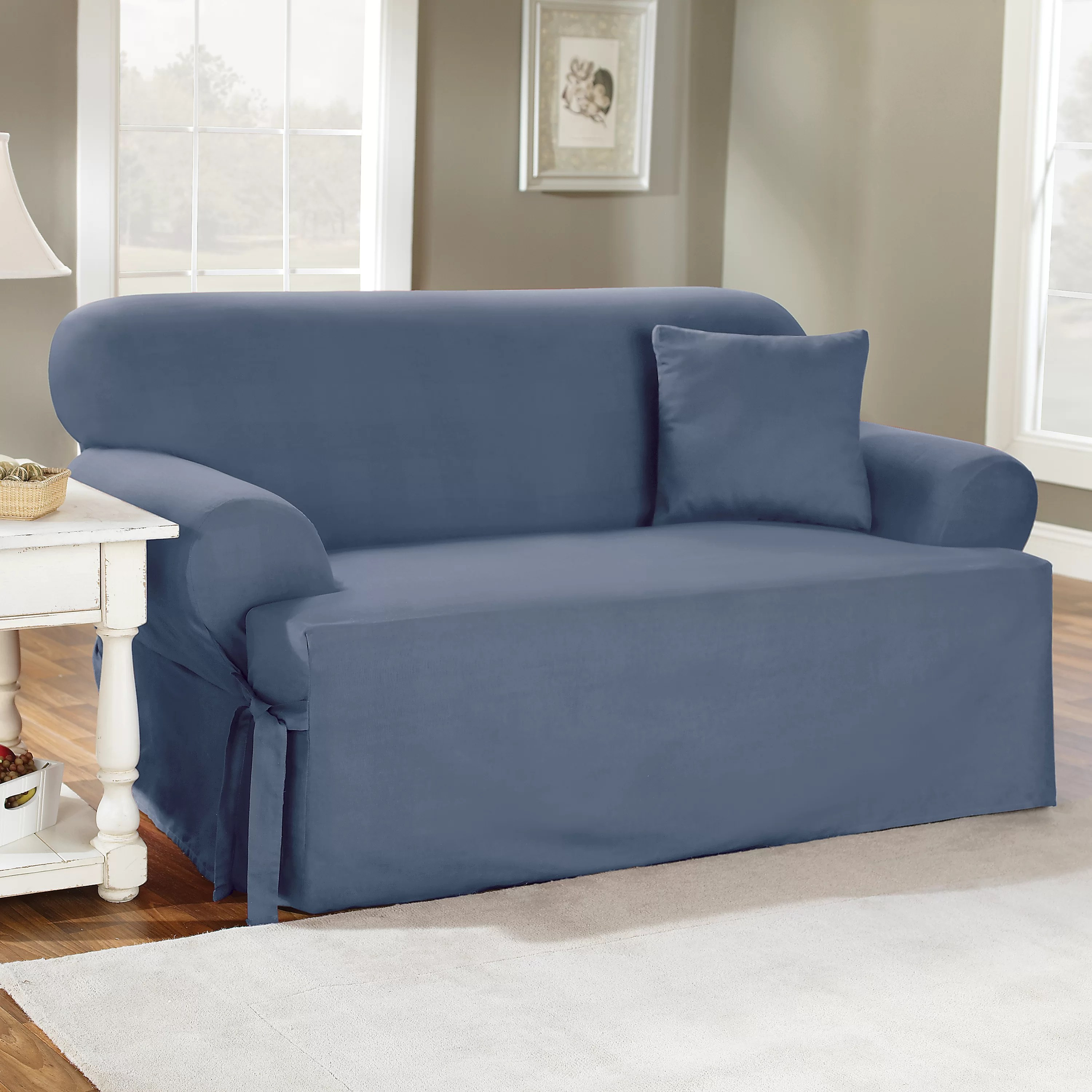 sure fit cotton duck sofa slipcover shaker beds t cushion and reviews