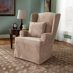 Sure Fit Wing Chair Cover Wheel Sex Soft Suede Slipcover And Reviews Wayfair