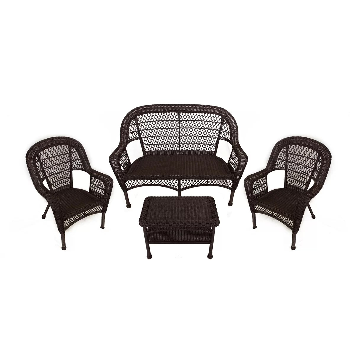 Resin Patio Chairs Lb International 4 Piece Resin Wicker Patio Furniture Set
