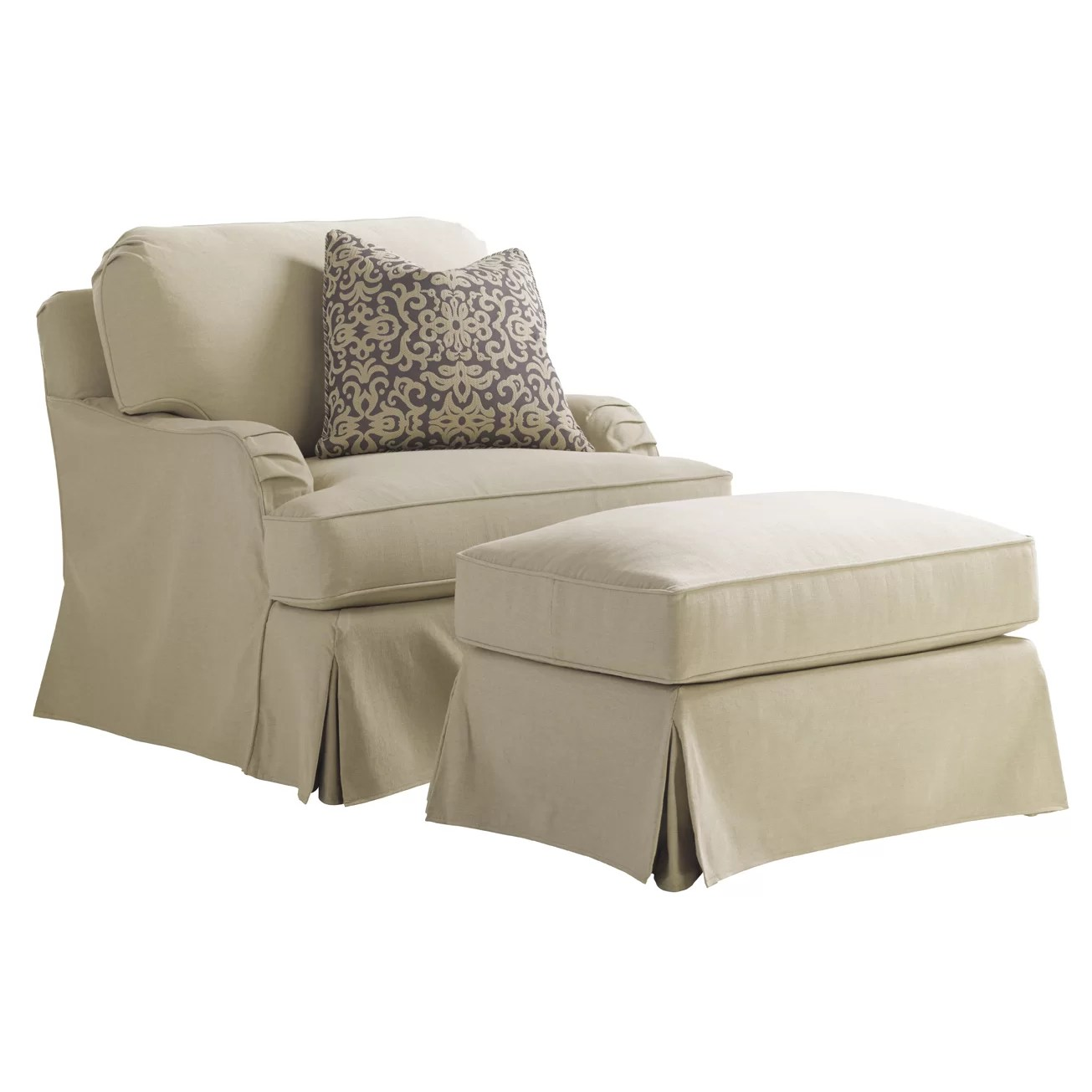 Slipcover For Oversized Chair And Ottoman Coventry Hills Stowe Slipcover Arm Chair And Ottoman Wayfair