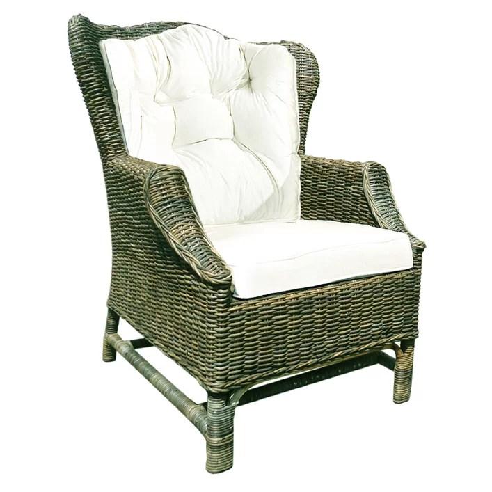 Rattan Wicker Wingback Chair with Cushions  Wayfair