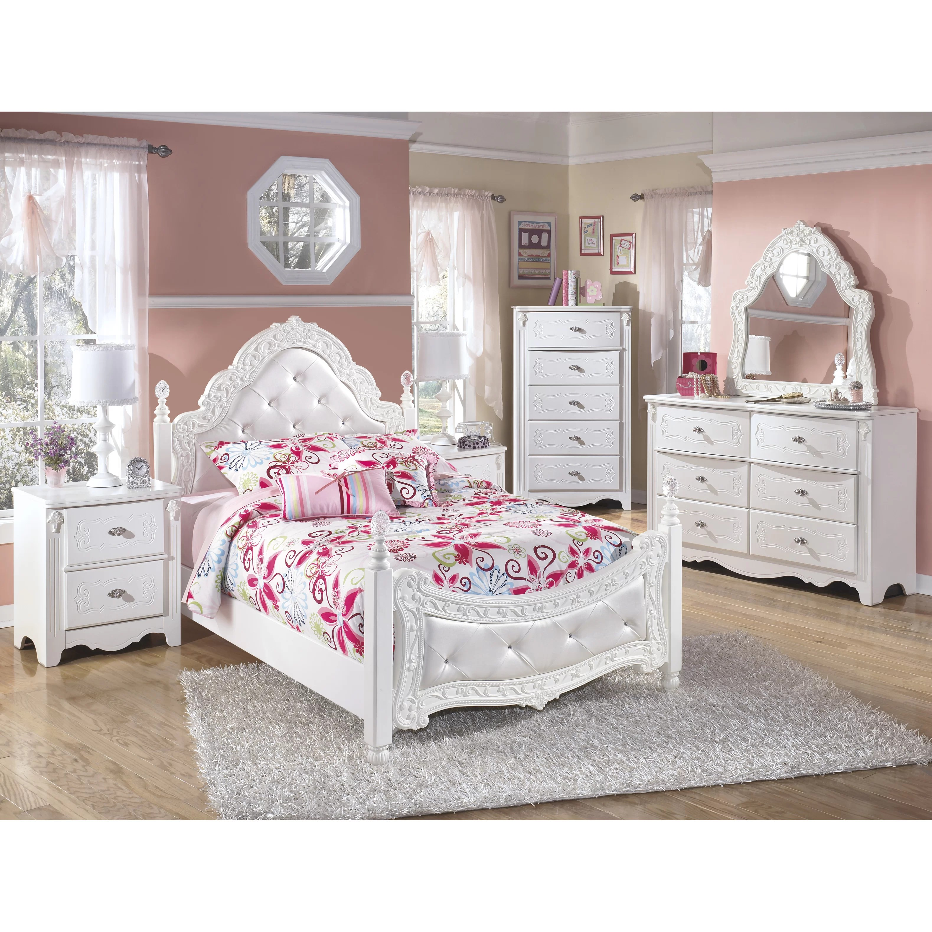 Signature Design by Ashley Exquisite Four Poster Customizable Bedroom Set  Reviews  Wayfair