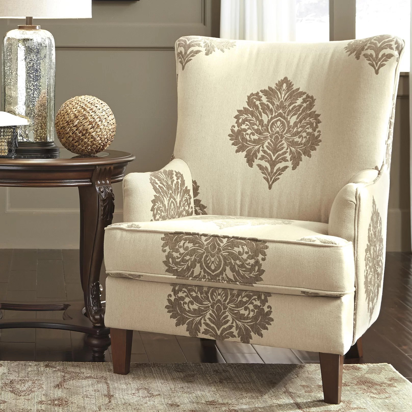 damask accent chair office chairs without arms signature design by ashley berwyn arm