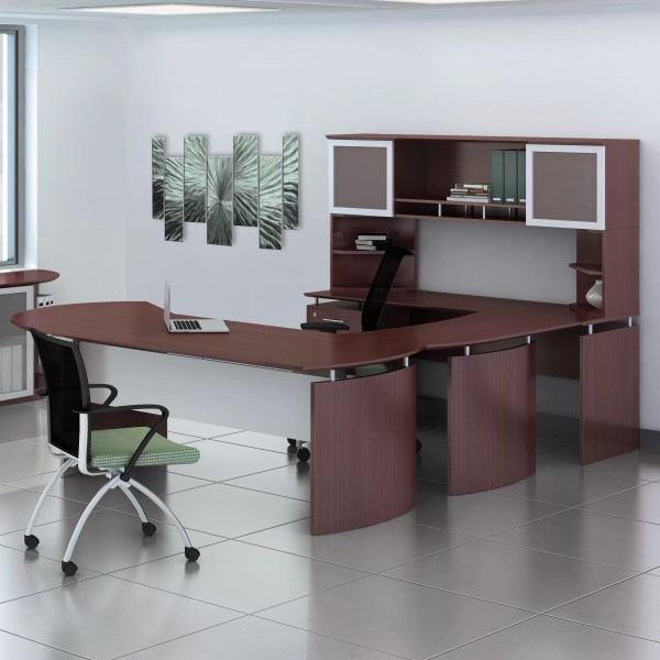 Mayline Medina Series U-shape Computer Desk With Hutch And Curved Extension &
