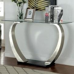 Natal Chrome And Glass Sofa Table Manstad Bed Slipcover Hokku Designs Natalia Console Reviews Wayfair