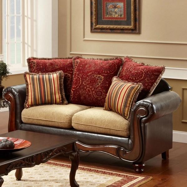 Hokku Design Philip Polyester-cotton And Leatherette Sofa Set &