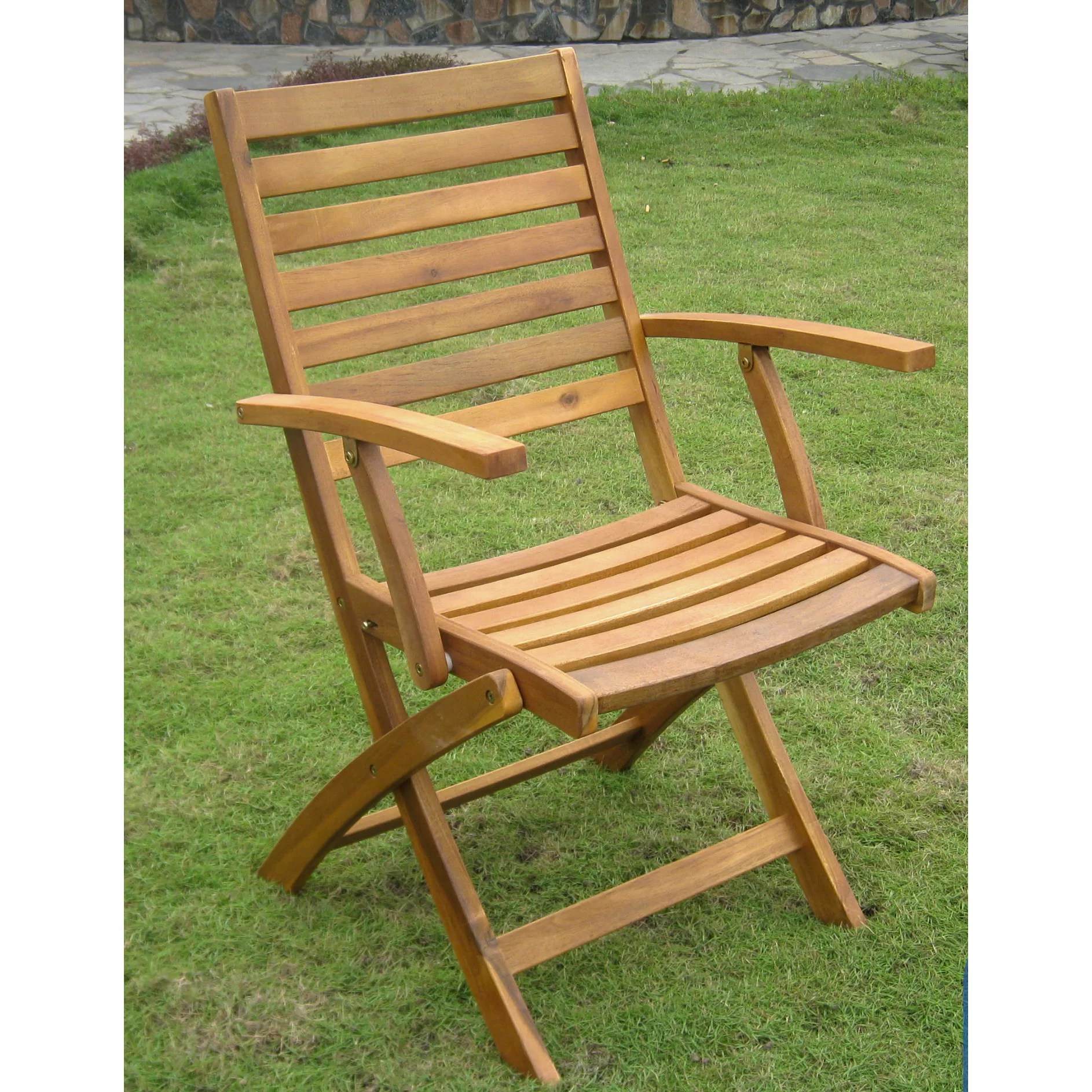 Folding Arm Chair International Caravan Acacia Chelsea Folding Dining Arm