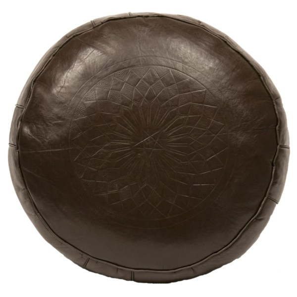 Casablanca Market Moroccan Leather Pouf Ottoman Iii