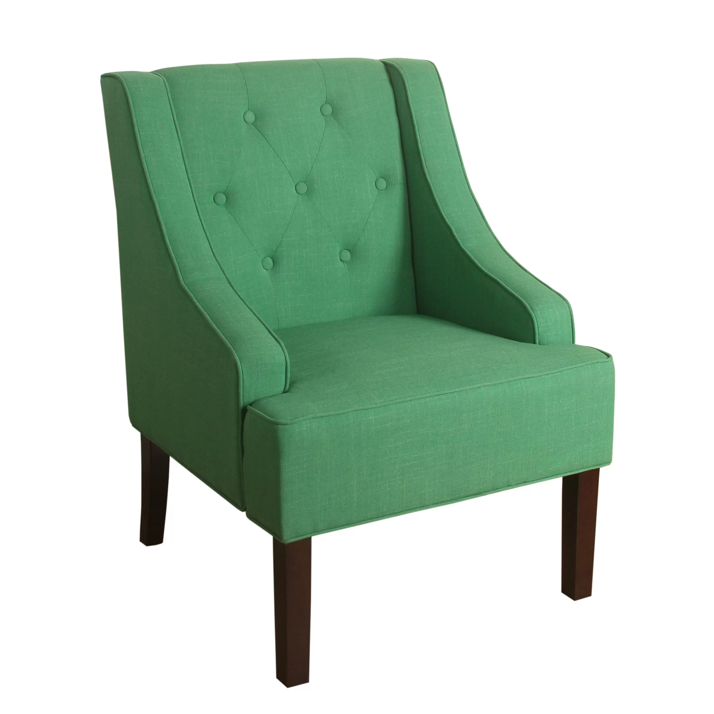 green velvet tufted chair no sew covers for folding chairs kate swoop armchair wayfair