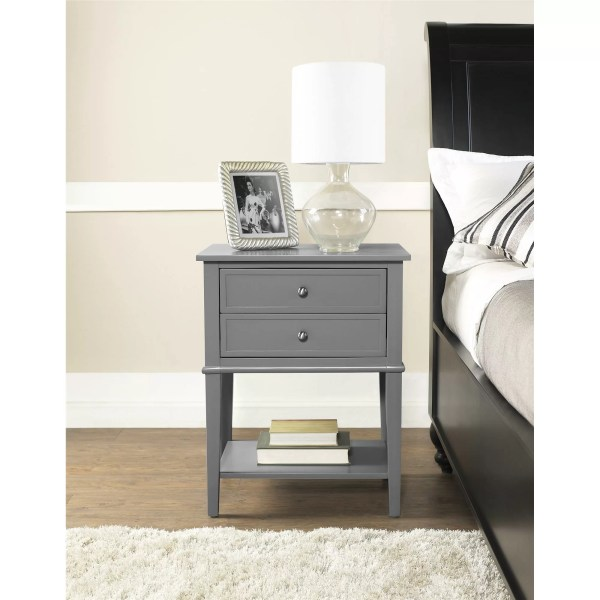 Alcott Hill Grey 2 Drawer End Table &