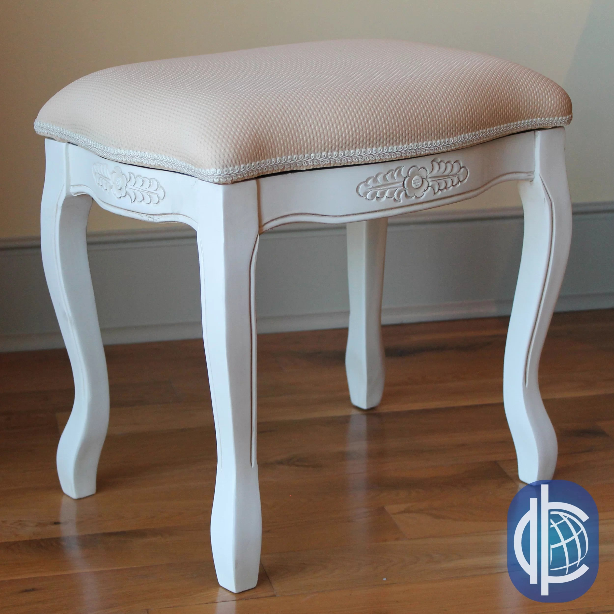 Vanity With Chair Lark Manor Maes Hand Carved Antique White Vanity Stool