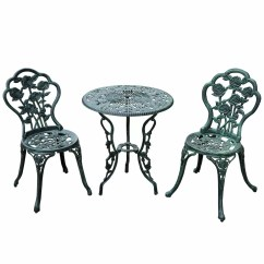 Bistro Style Dining Chairs Desk Chair Teal Outsunny 3 Piece Set And Reviews Wayfair