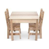 Melissa & Doug 3 Piece Wooden Table and Chairs Set ...