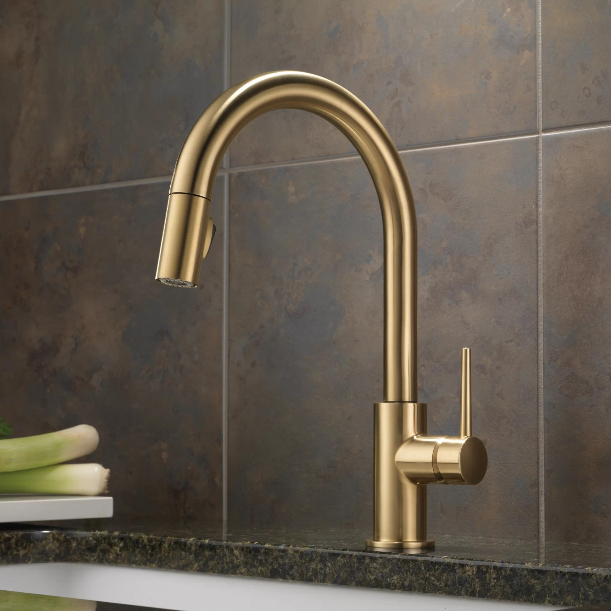 delta trinsic kitchen faucet floor lino single handle deck mounted