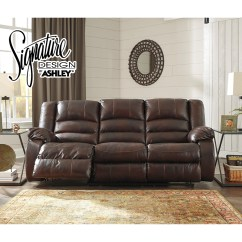 Reclining Sofa Leather Brown 2 Seater Gumtree London Levelland In Top Grain Genuine By Ashley