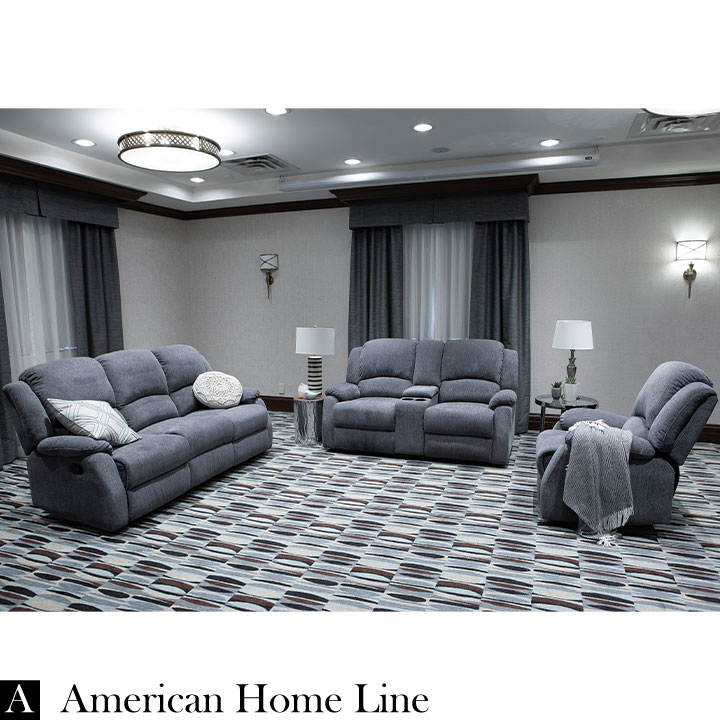 living room with loveseat and chairs standing lamp crawford luxury recliner 3 piece livingroom set s l c in grey chenille includes sofa chair