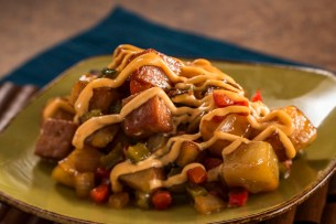 Teriyaki-glazed SPAM® Hash with Potatoes, Peppers, Onions, and Spicy Mayonnaise